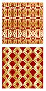 Luxurious tile with elegant golden seamless patterns on red background Stock Illustration
