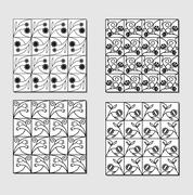 Set of black white background tiles with simply floral motif. Small mirror el Stock Illustration