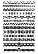 Set of art deco ornamental borders in black white, vintage ornament for book, - stock illustration
