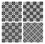 Checkerboard designed fine simple vintage patterns in white and black - stock illustration