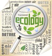 Ecology environmental theme with magnifier on typographic background - stock illustration