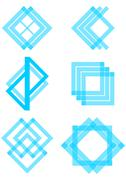 Stock Illustration of Set of blue logotype elements derived from the square and triangle