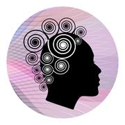 Woman head profile with extravagant spiral hairstyle on pink wavy background. - stock illustration