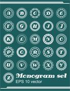 Set of monogram in vintage frames, whole alphabet of letters - stock illustration