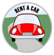 Rent a car emblem with cute cheerful red car on the road Stock Illustration