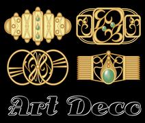 Vintage hairclip set in golden metal, art deco style. - stock illustration