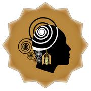 Women face profile silhouette with art deco golden earring on background in s Stock Illustration