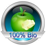 Button 100% Bio - stock photo
