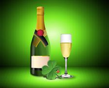 New Year Card with Champagne shamrock and ladybug Stock Photos