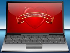 Laptop with Valentine's Day Greeting card Happy Valentine's Day Stock Photos