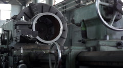Stock Video Footage of turning lathe machine