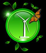 Green eco Button with a wind turbine with leaves and a butterfly - stock photo