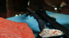 Raw salmon fillet served with lemon and white wine in wineglass Stock Footage