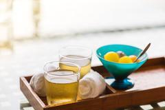 Ice tea with fruit Stock Photos