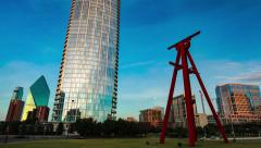 Dallas downtown art sculpture Time-lapse at dawn - stock footage
