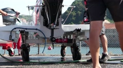 Mad-Croc Baba Racing Team boat preparations - stock footage