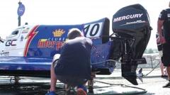 Atlantic Team boat preparations Stock Footage