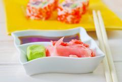 Soy sauce, vasabi and ginger Stock Photos