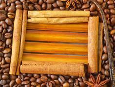 Coffee and cinnamon Stock Photos