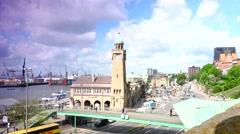 ULTRA HD 4K real time shot,St Pauli Harbor ,Car Traffic Hamburg Stock Footage