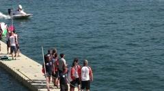 Team EMIC boat preparations Stock Footage