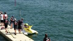 Motorglass F! Team boat preparations Stock Footage