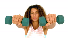 Fit woman exercising with kettlebells Stock Footage
