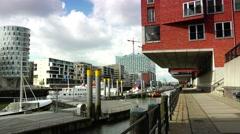 ULTRA HD 4K real time shot, HafenCity in Hamburg Stock Footage