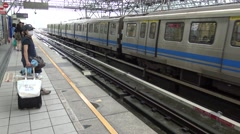 4K Hd Ultra, departure at the train station Taipei People get on a train-Dan Stock Footage