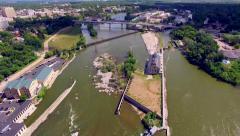 Scenic Fox River Locks in Appleton Wisconsin Stock Footage