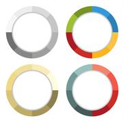 Collection of 4 isolated colorful striped frames Stock Illustration