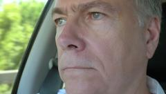 Man thinking about something while riding in a car 4k Stock Footage