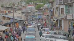 Cars in main bazaar,Kargil,Ladakh,India Stock Footage