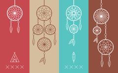 Dream catcher boho flat line icons set - stock illustration