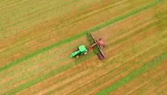 Agricultural Farm Tractor, Combine, Harvester, Harvesting Crop, Aerial View Stock Footage