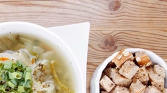 Stock Video Footage of vegetable soup with bread crackers