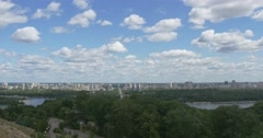 The Gorgeous View on the Dnieper River and Its Left Bank From One of the Green Stock Footage