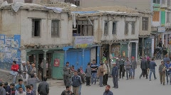Pedestrian in main bazaar,Kargil,Ladakh,India - stock footage