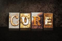 Cure Letterpress Theme on Black - stock photo