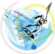 Water skiing illustration Stock Illustration