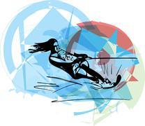Water skiing illustration - stock illustration