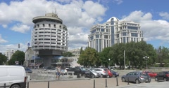 Saljut Hotel and the Center of Children Creativity on Slava Square in the Stock Footage