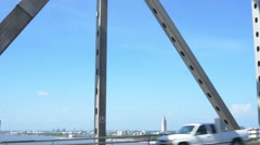 driving on the Mississippi River bridge in Baton Rouge overlooking the state - stock footage