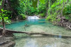 Beautiful Waterfall in Kanchanaburi (Huay Mae Kamin), Thailand Stock Photos