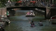 Bloemgracht Canoers in Amsterdam 2 Stock Footage
