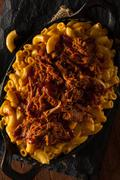Homemade BBQ Pulled Pork Mac and Cheese - stock photo