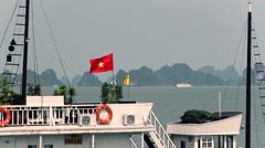 Vietnam flag ship Stock Footage
