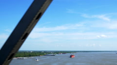 View from bridge over Mississippi river in Baton Rouge LA Stock Footage