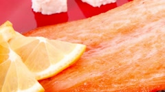 Roast salmon fish meat fillet with lemon Stock Footage