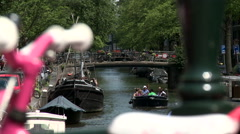 Bloemgracht and Pink Bike 1 Stock Footage